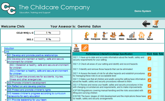 Childcare - Learner's progress page